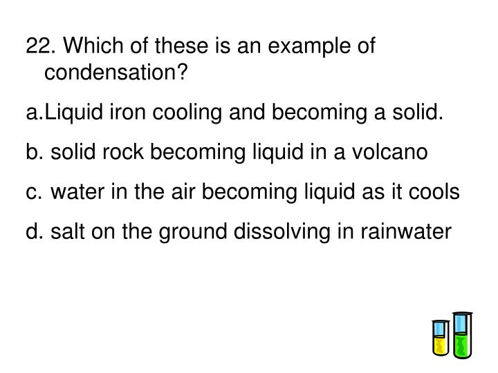22. Which of these is an example of condensation?