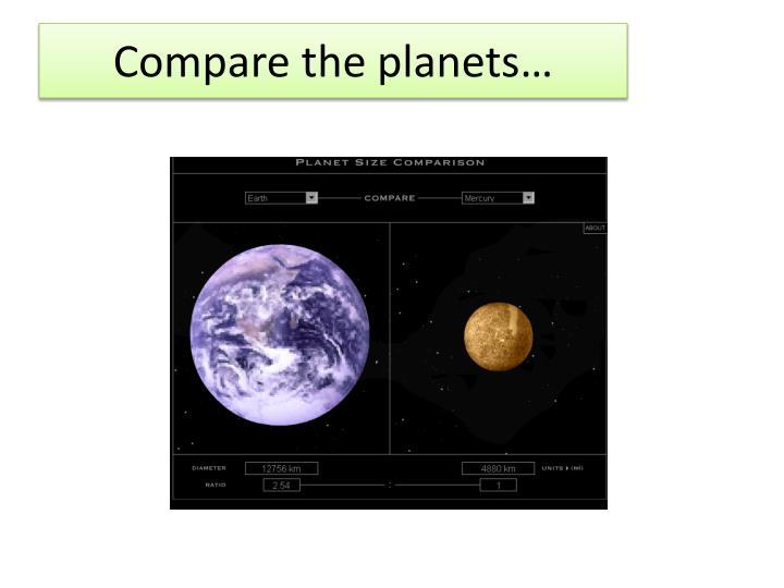 Compare the planets…