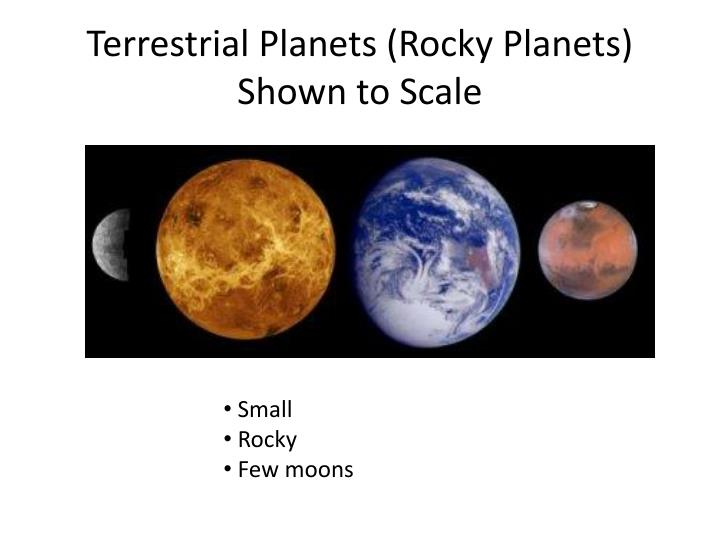 Terrestrial planets rocky planets shown to scale