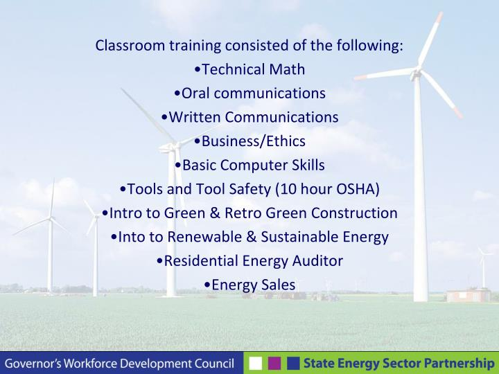 Classroom training consisted of the following: