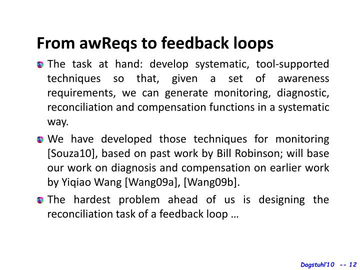 From awReqs to feedback loops