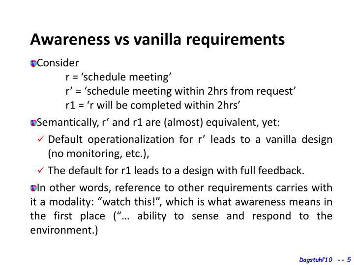 Awareness vs vanilla requirements