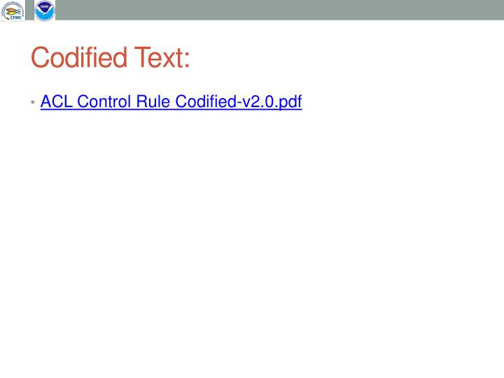 Codified Text: