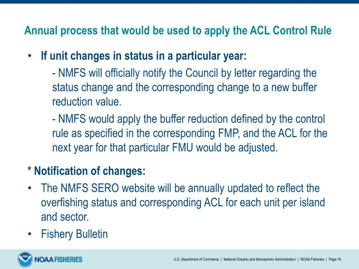 Annual process that would be used to apply the ACL Control