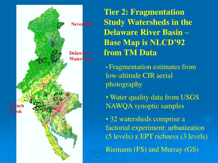 Tier 2: Fragmentation Study Watersheds in the Delaware River Basin – Base Map is NLCD'92 from TM Data