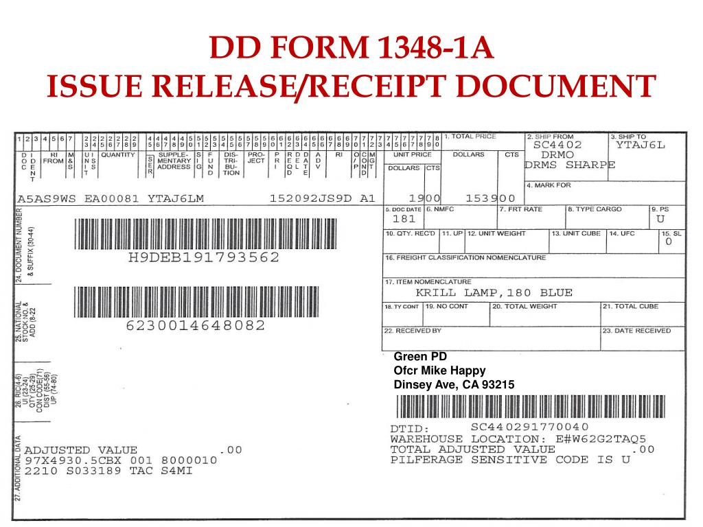 dd form 1348 1a issue release receipt document n.