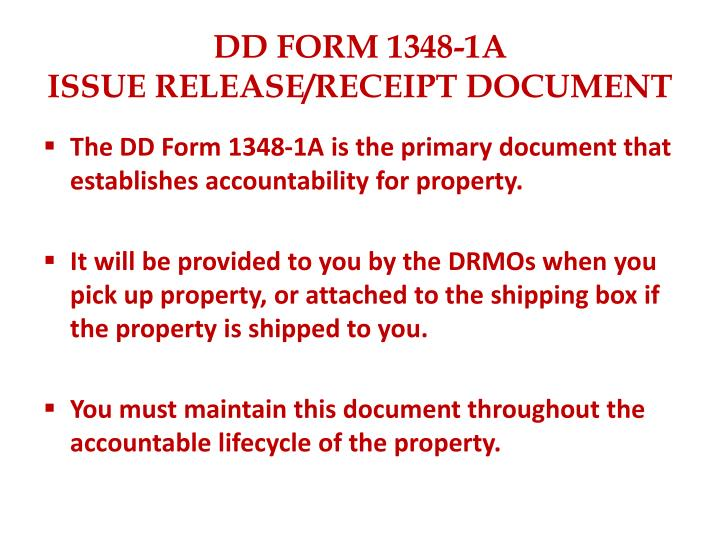 PPT - DD FORM 1348-1A ISSUE RELEASE/RECEIPT DOCUMENT PowerPoint ...