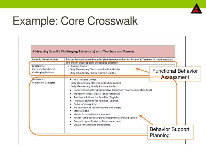 Example: Core Crosswalk