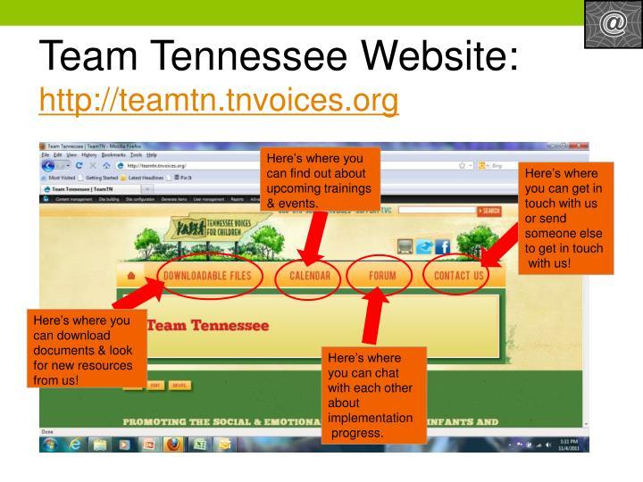 Team Tennessee Website: