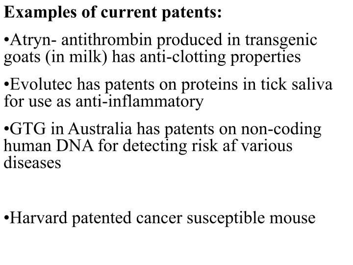 Examples of current patents: