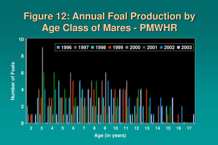 Figure 12: Annual Foal Production by Age Class of Mares - PMWHR