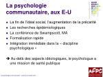 la psychologie communautaire aux e u