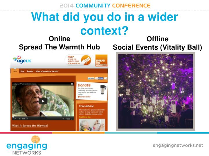 What did you do in a wider context?