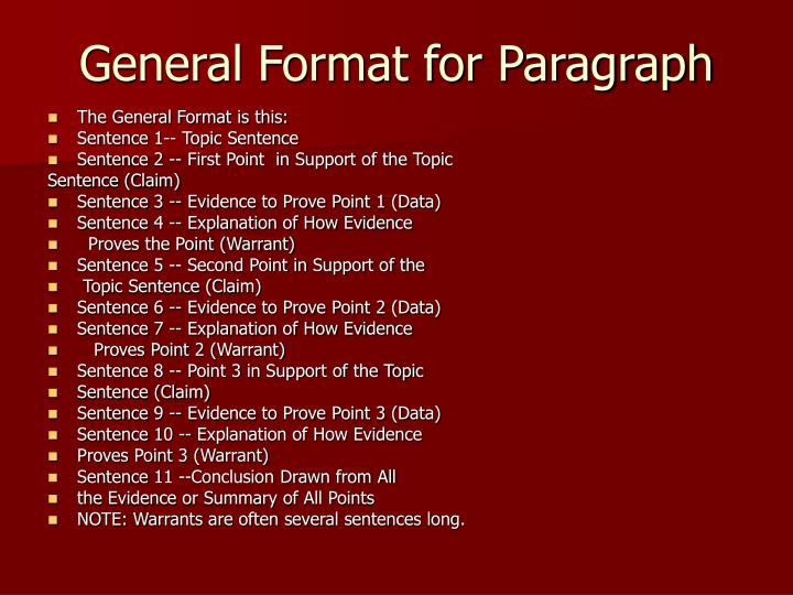 General format for paragraph