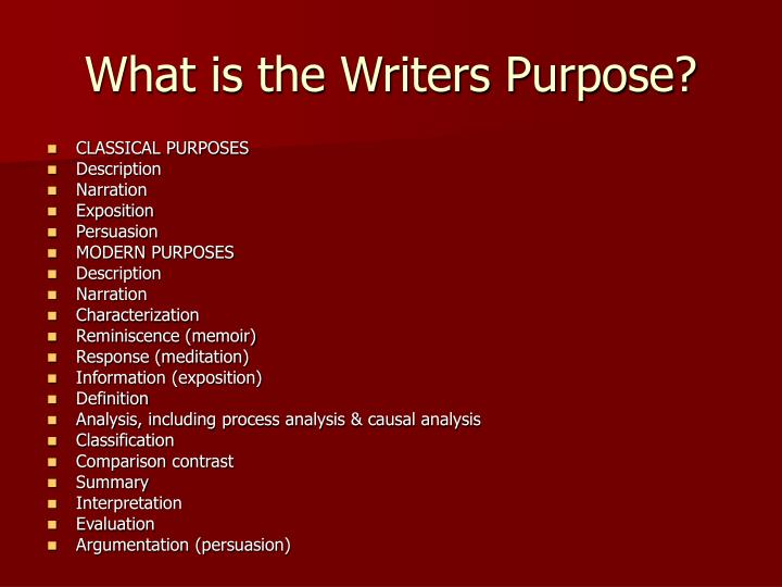 What is the writers purpose