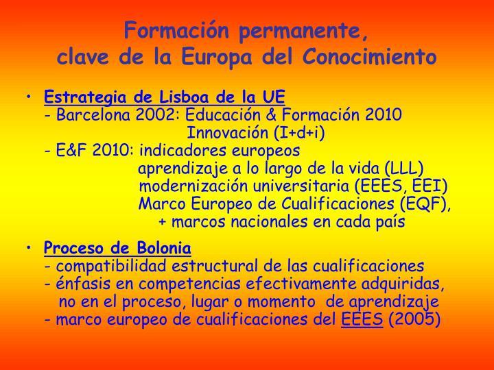 Formaci n permanente clave de la europa del conocimiento