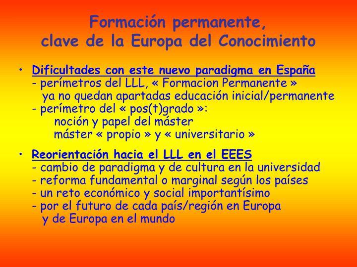 Formaci n permanente clave de la europa del conocimiento1