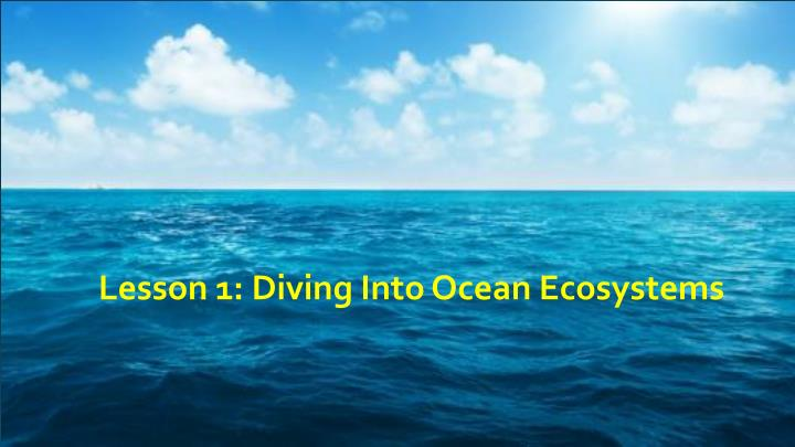 lesson 1 diving into ocean ecosystems n.