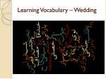learning vocabulary wedding