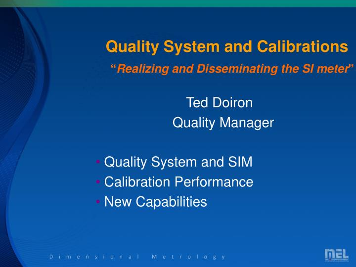 quality system and calibrations