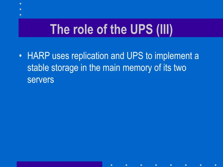 The role of the UPS (III)