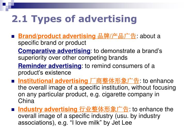 2.1 Types of advertising