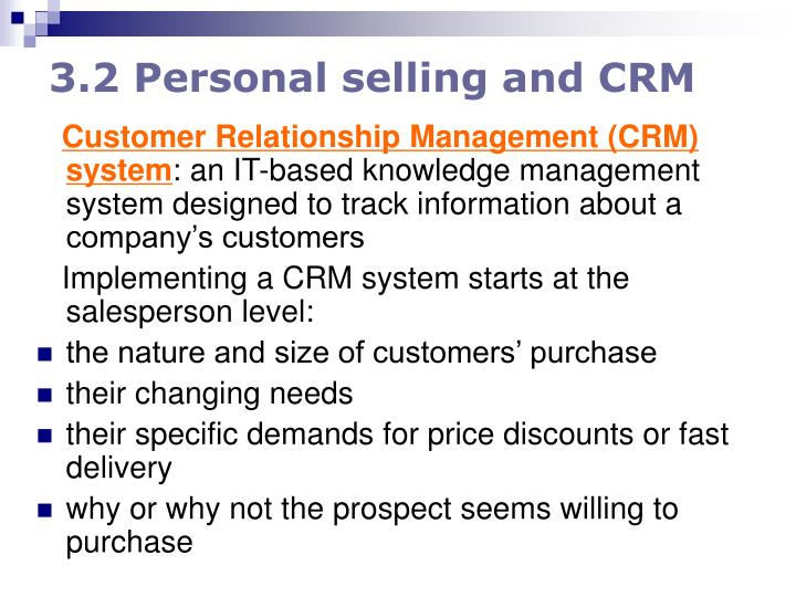 3.2 Personal selling and CRM