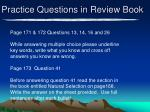 practice questions in review book