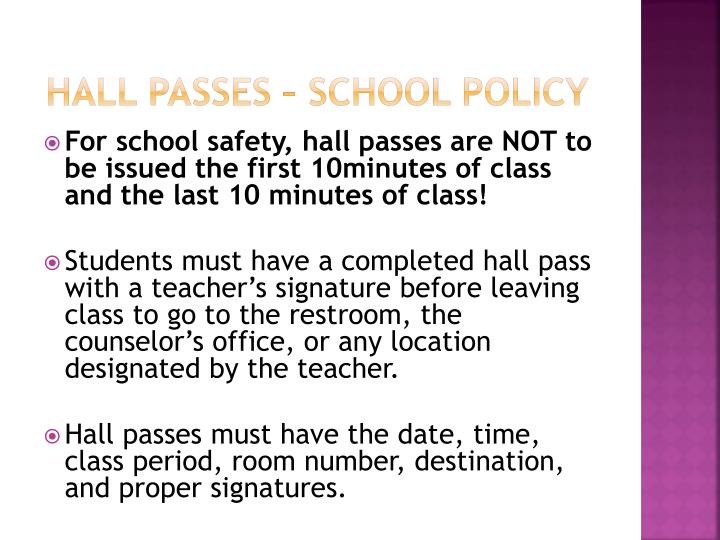 Hall Passes – School Policy