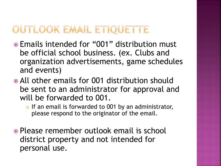 Outlook email etiquette
