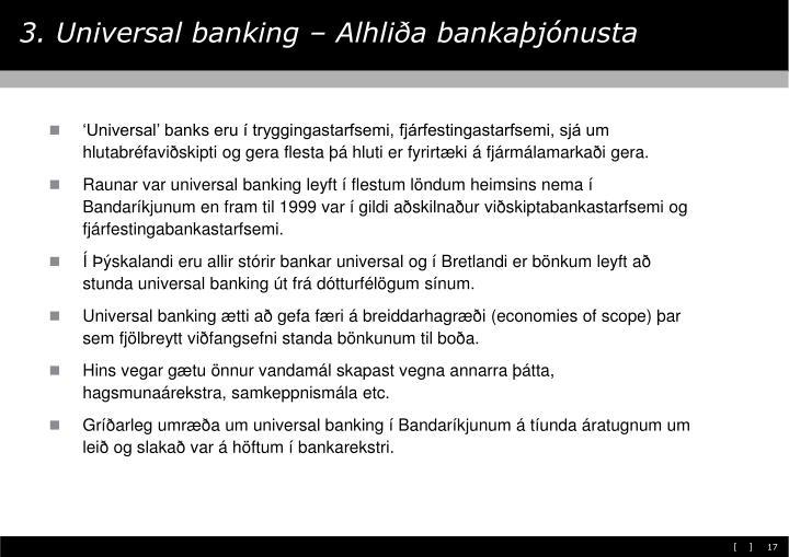 3. Universal banking – Alhliða bankaþjónusta