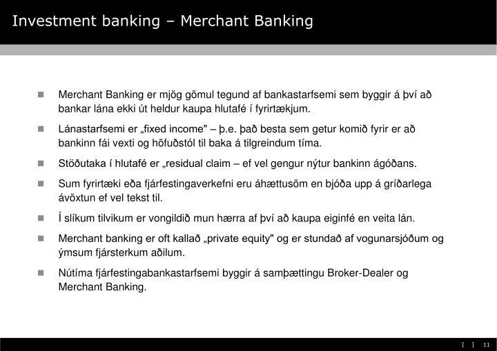 Investment banking – Merchant Banking