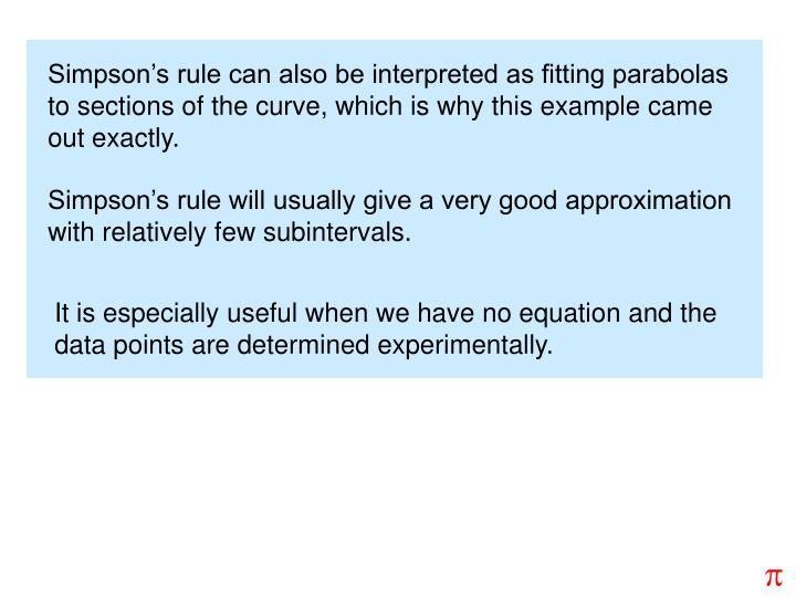 Simpson's rule can also be interpreted as fitting parabolas to sections of the curve, which is why this example came out exactly.