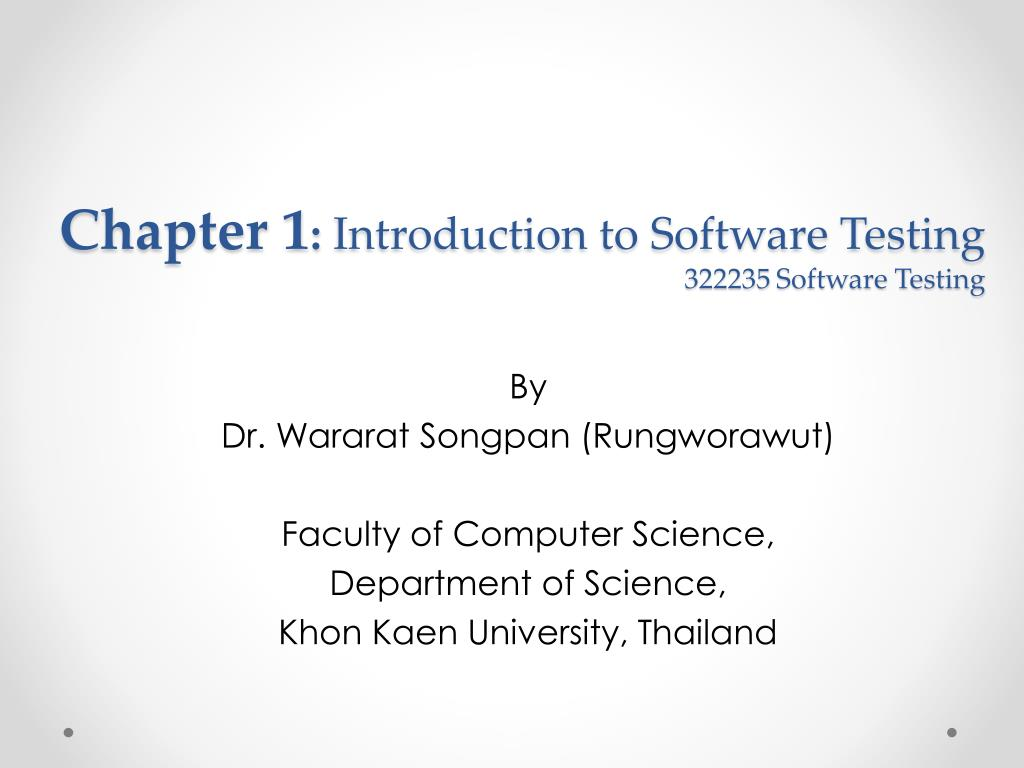Software testing chapter 1 ppt