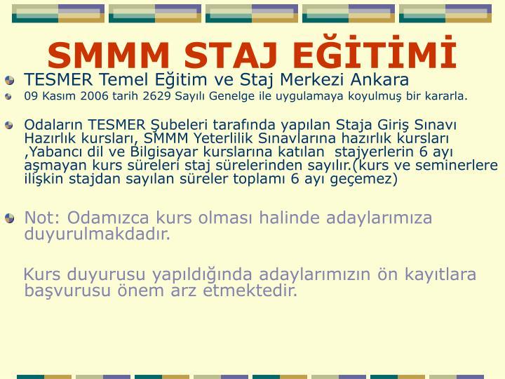 SMMM STAJ EĞİTİMİ