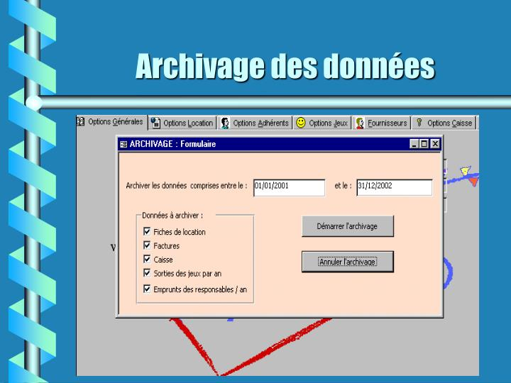 Archivage des données