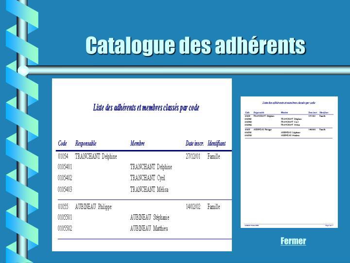 Catalogue des adhérents