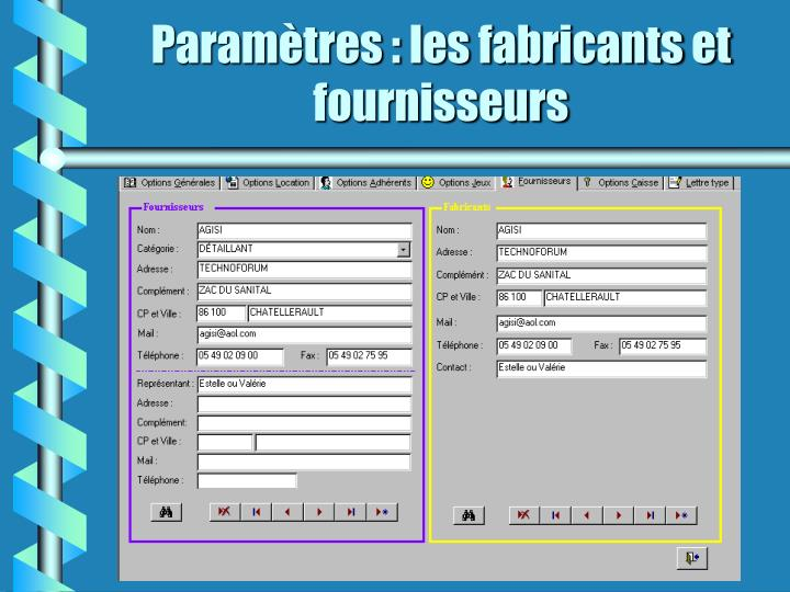 Paramètres : les fabricants et fournisseurs