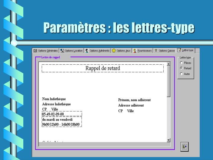 Paramètres : les lettres-type