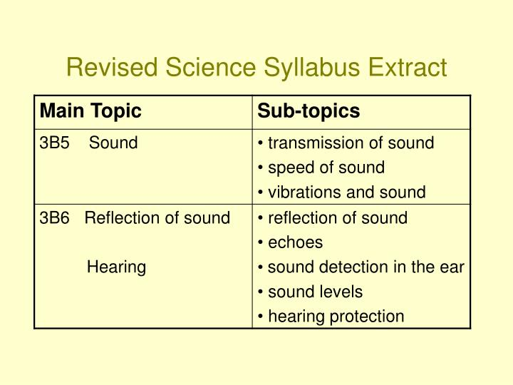 Revised science syllabus extract