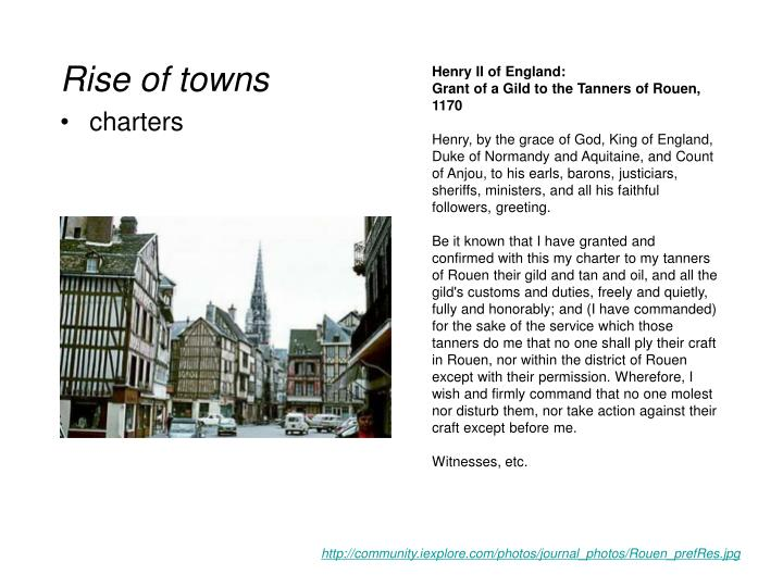 Rise of towns