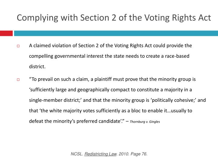 Complying with section 2 of the voting rights act