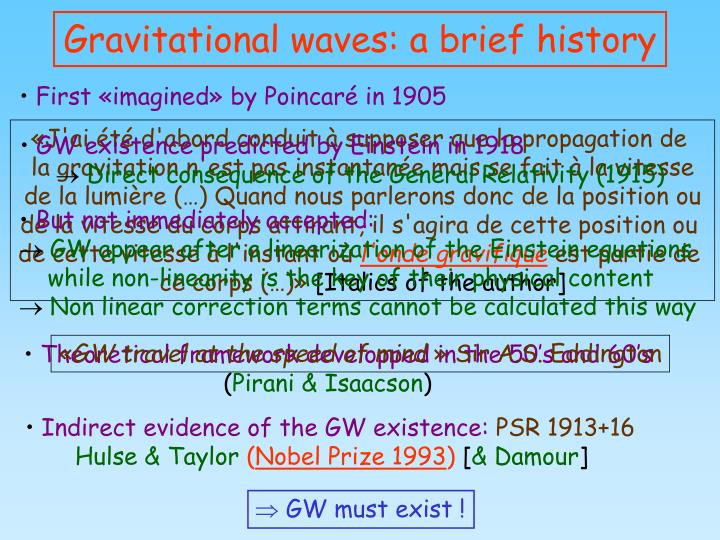 Gravitational waves a brief history