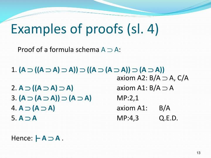Examples of proofs (sl. 4)