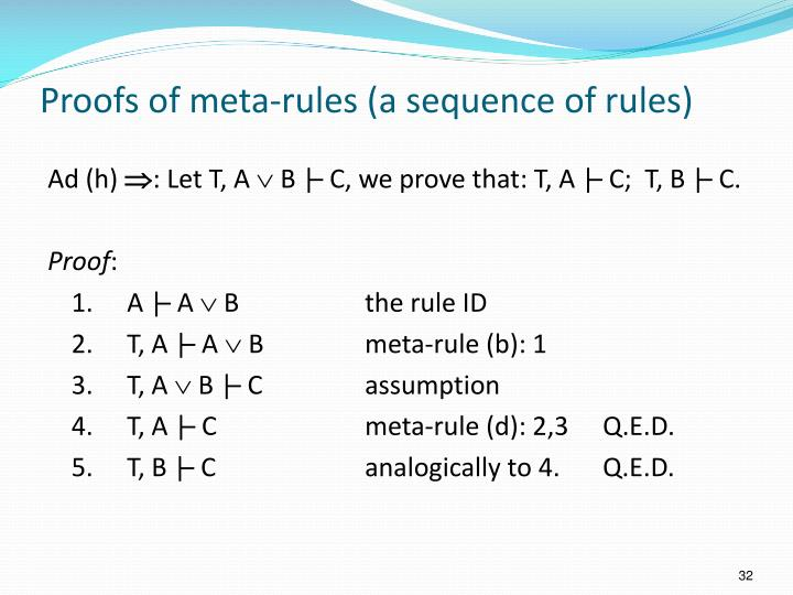 Proofs of meta-rules (a sequence of rules)