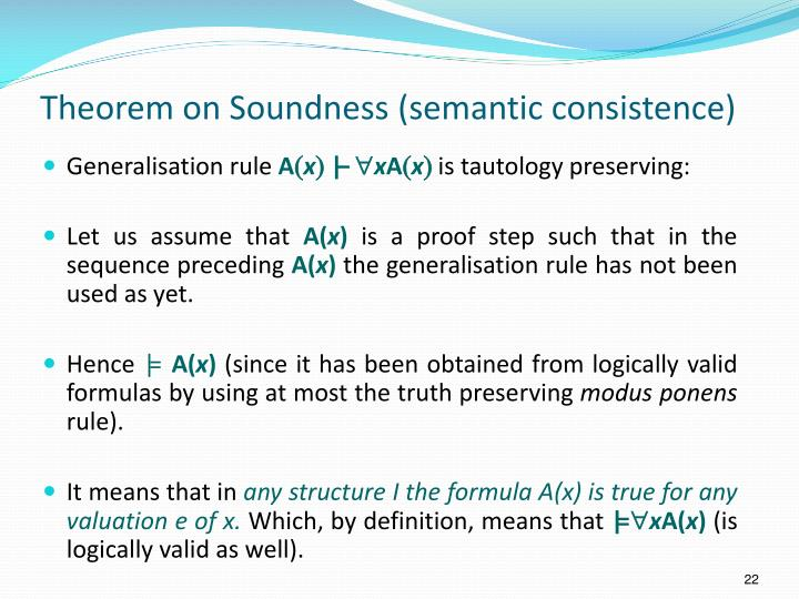 Theorem on Soundness (semantic consistence)