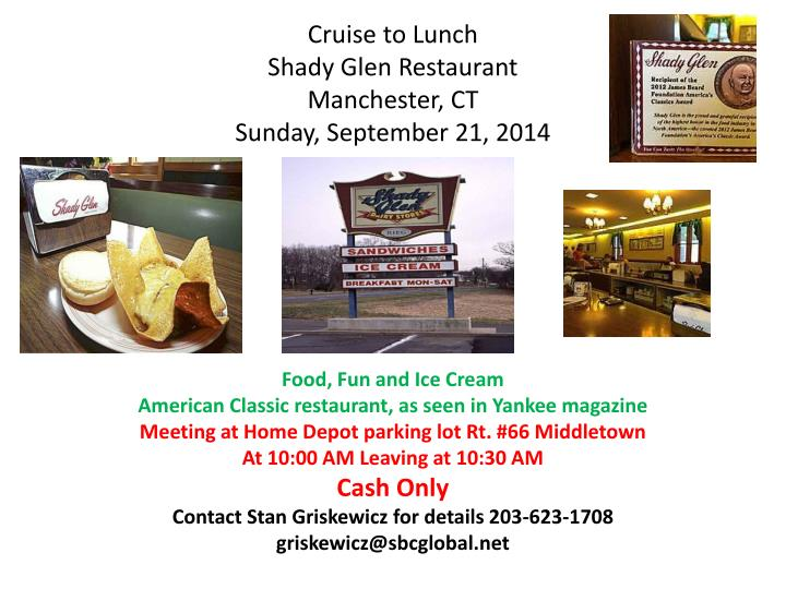 cruise to lunch shady glen restaurant manchester ct sunday september 21 2014 n.