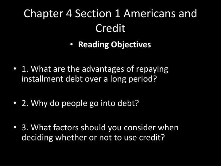 chapter 4 section 1 americans and credit n.