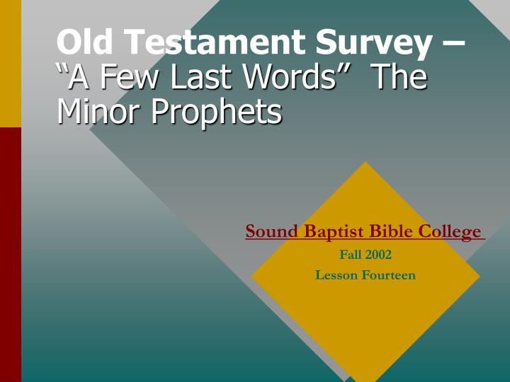 old testament survey a few last words the minor prophets n.