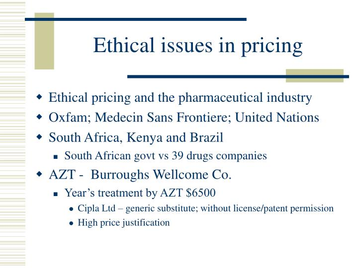 Ethical issues in pricing1
